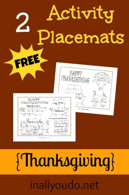Thanksgiving Activity Placemats