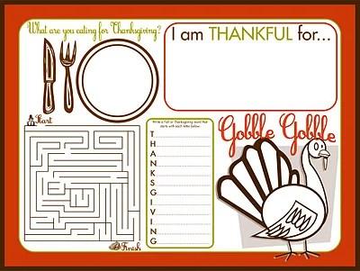Thanksgiving Children's Activity Placemat Printable