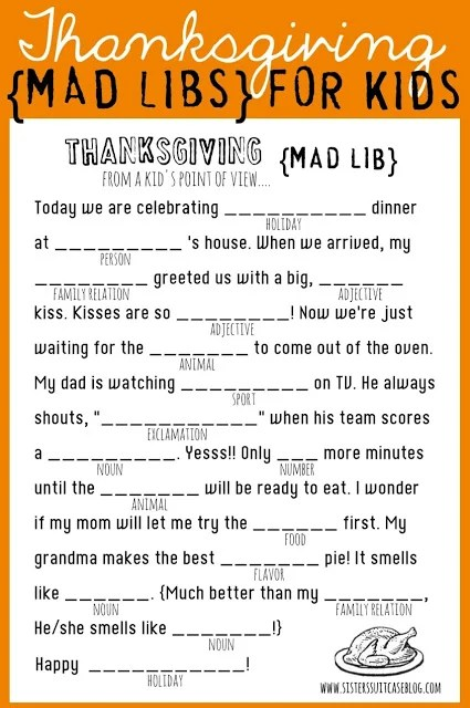 Thanksgiving Mad Lib Kids