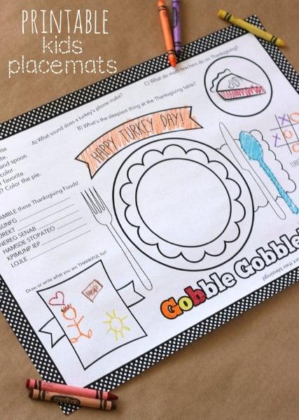 Thanksgiving Printable Kids Placemats