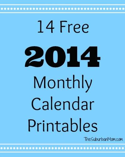 14 Free 2014 Monthly Calendar Printables