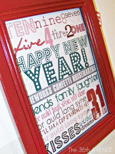 New Year Subway Art Free Printable