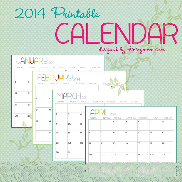 printable monthly calendar 2014