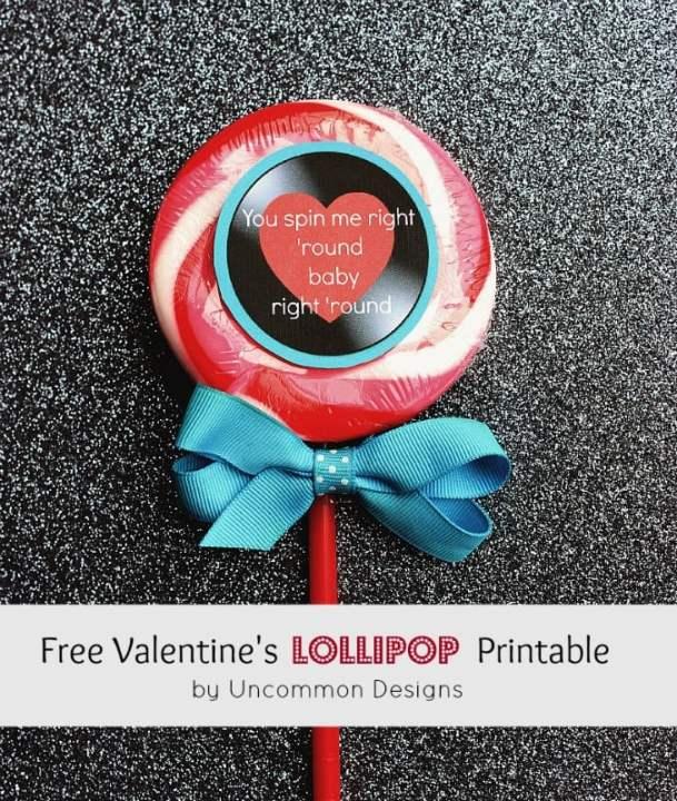 Lollipop Valentines Printable