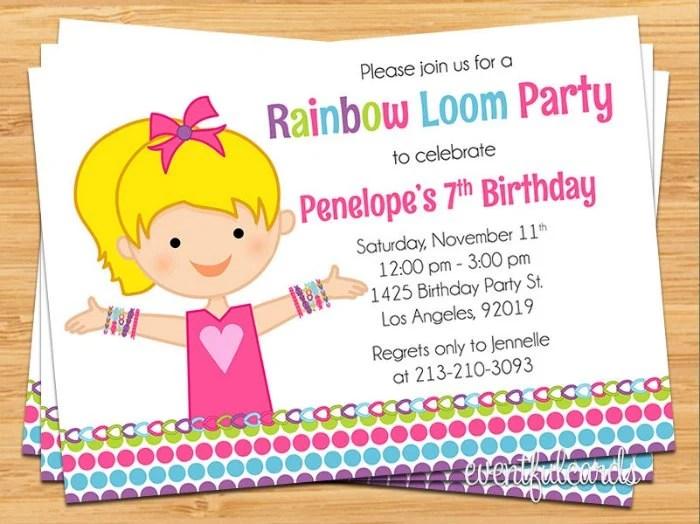 Rainbow Loom Birthday Party Invitation