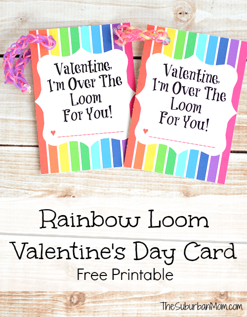 Rainbow Loom Valentine's Day Card Free Printable