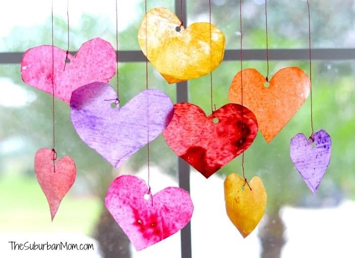 Valentines Day Kids Craft Crayon Hearts