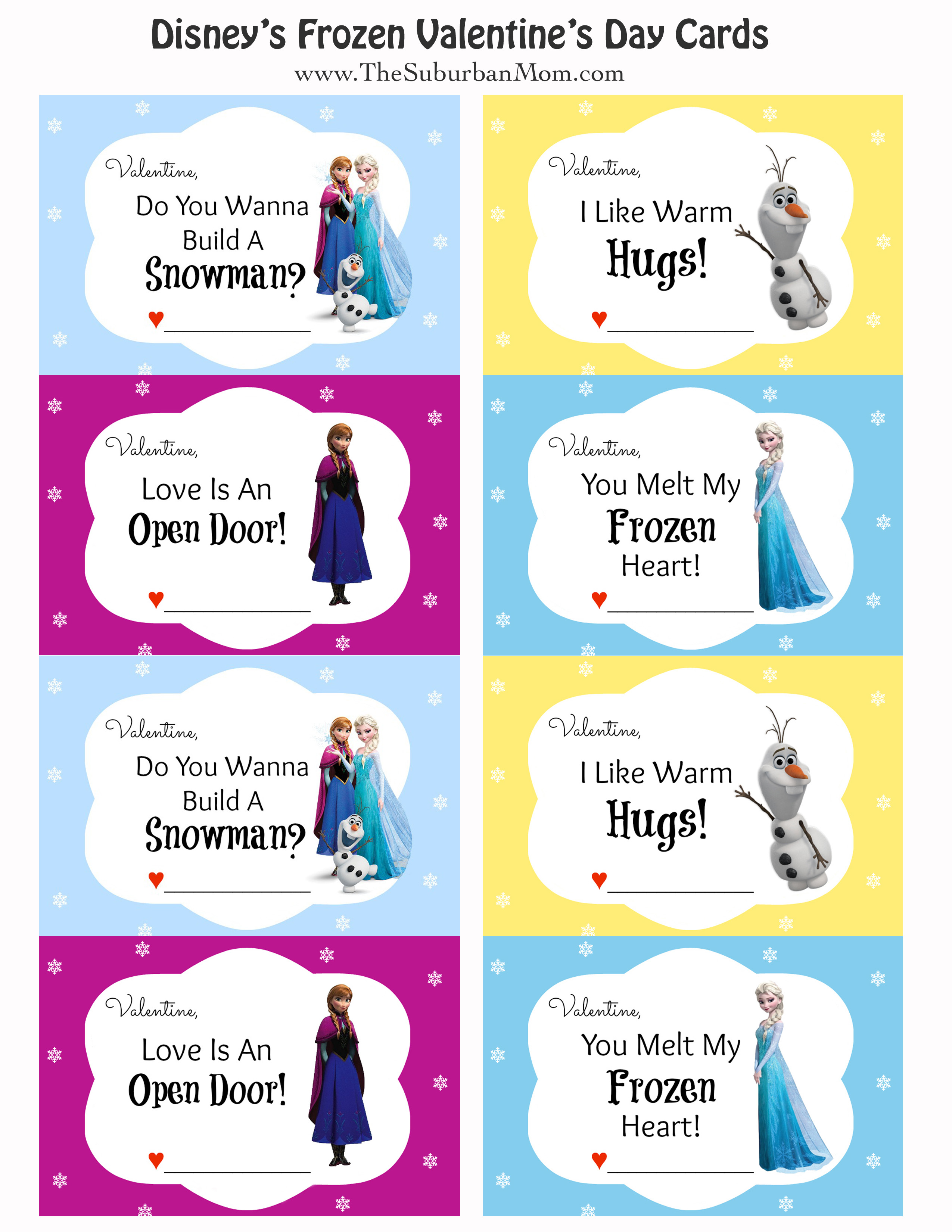 Free Printable Disney Frozen Valentine S Day Cards