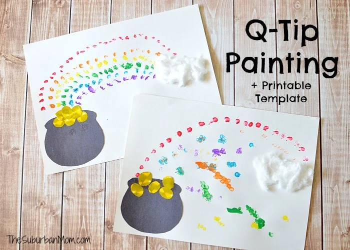 Painting Rainbows With Q Tips Free Printable Template Thesuburbanmom