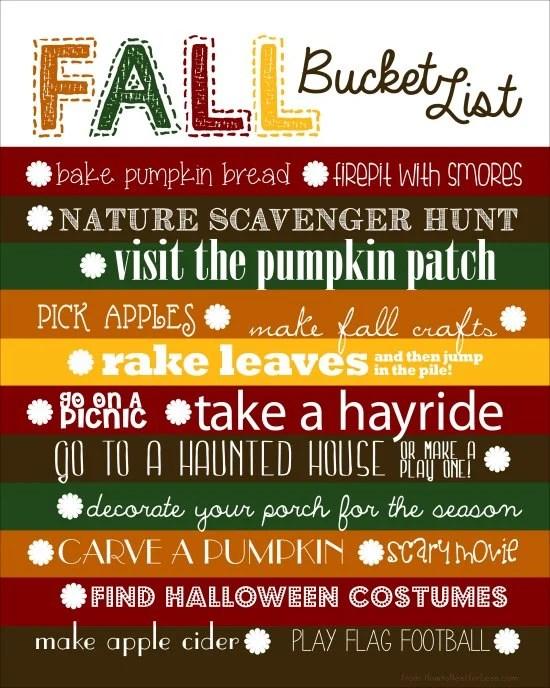 Free Printable Fall Sign Bucket List