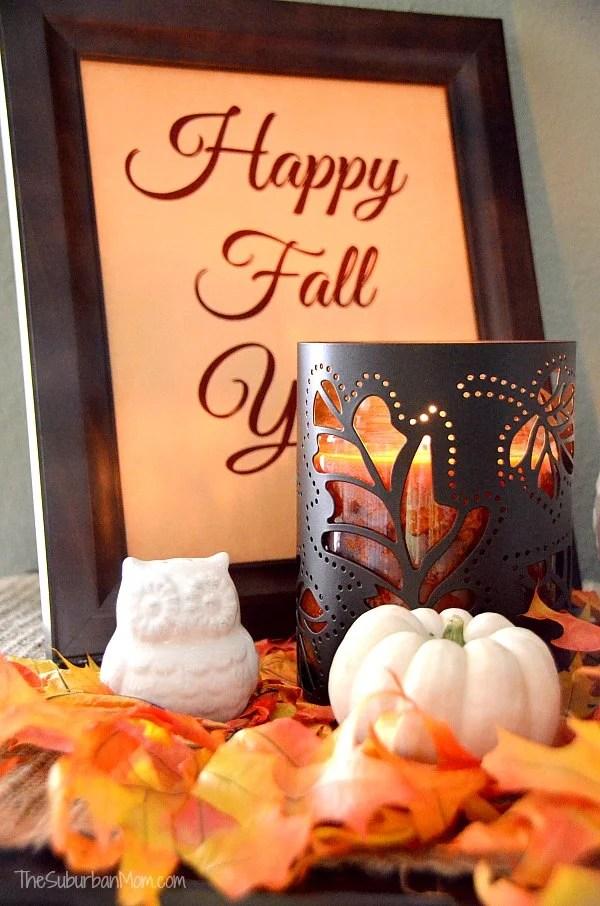 Pumpkin Candle White Owl