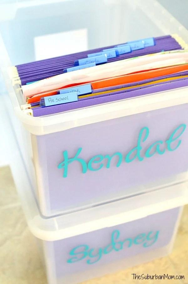 File Box School Paper Organization Ideas