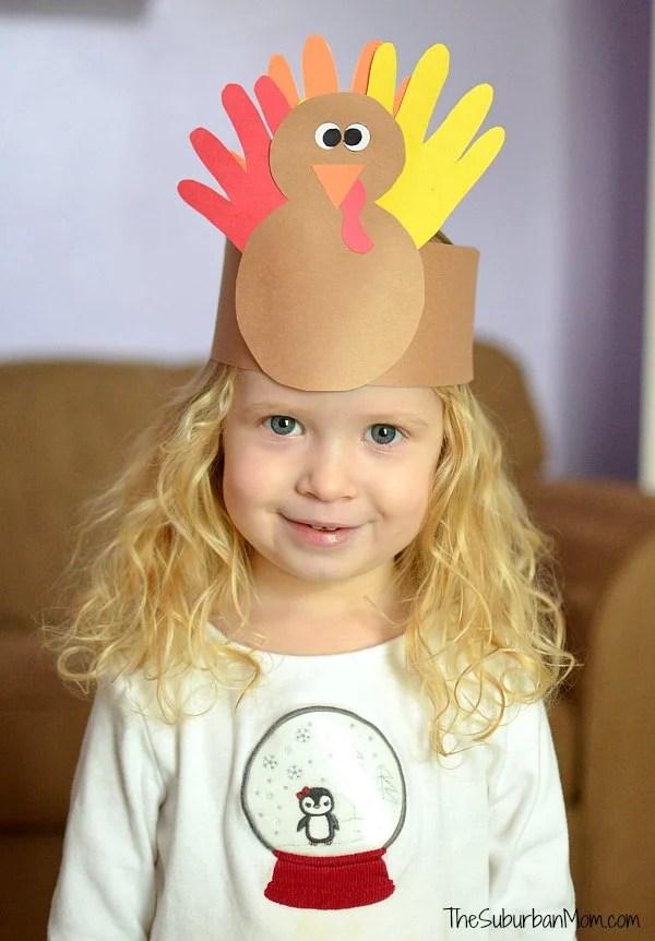 Thanksgiving Kids Craft Handprint Turkey Crown The