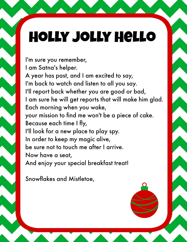 Elf On The Shelf Breakfast Ideas Printable Letter