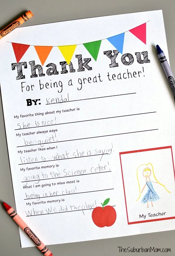 photograph about Teacher Favorite Things Questionnaire Printable called Thank On your own Trainer Totally free Printable
