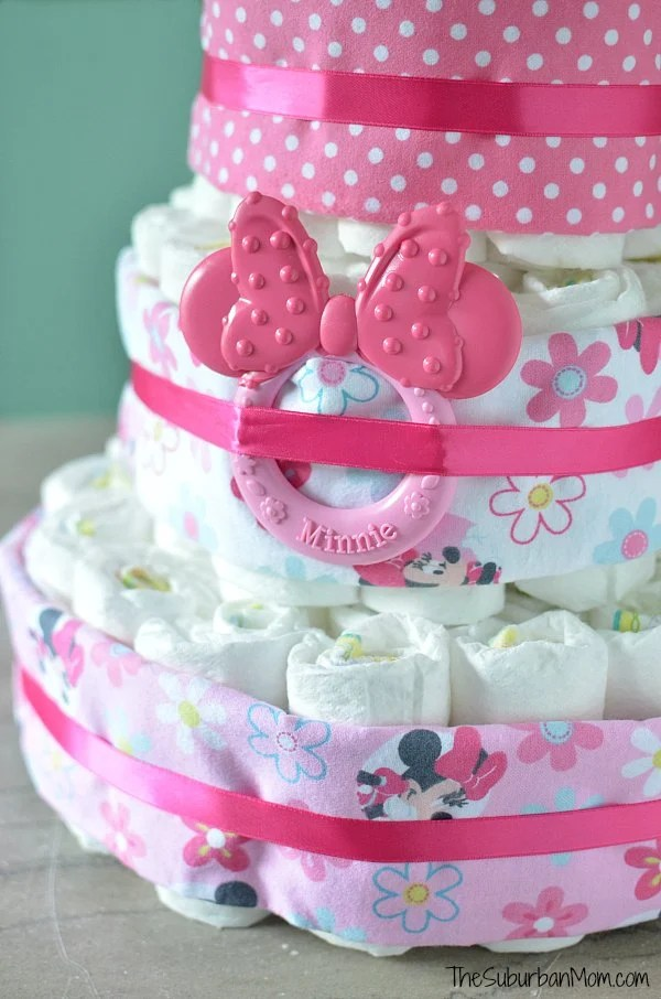 Pink Minnie Mouse Diaper Cake