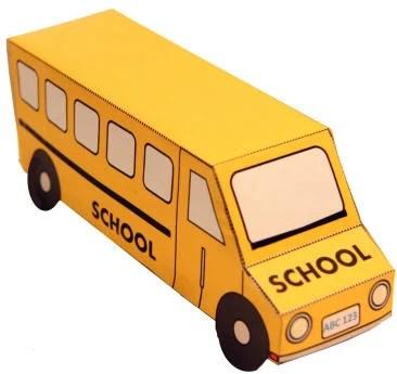 3D School Bus Paper Craft