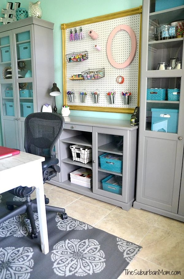 Aqua and Grey Home Office