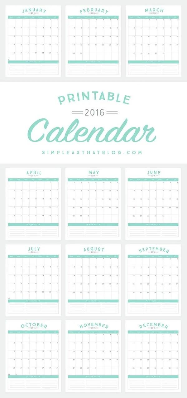 2016 Calendar To Do List