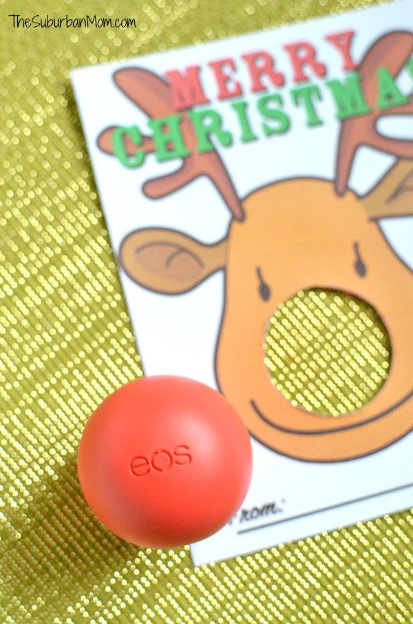 EOS Lip Balm Reindeer Christmas Card Printable