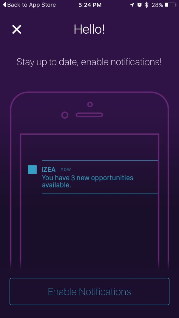 Izea App Notifications