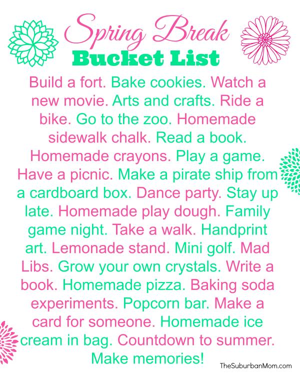 Spring Break Bucket List