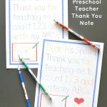 Traceable Preschool Teacher Thank You Note