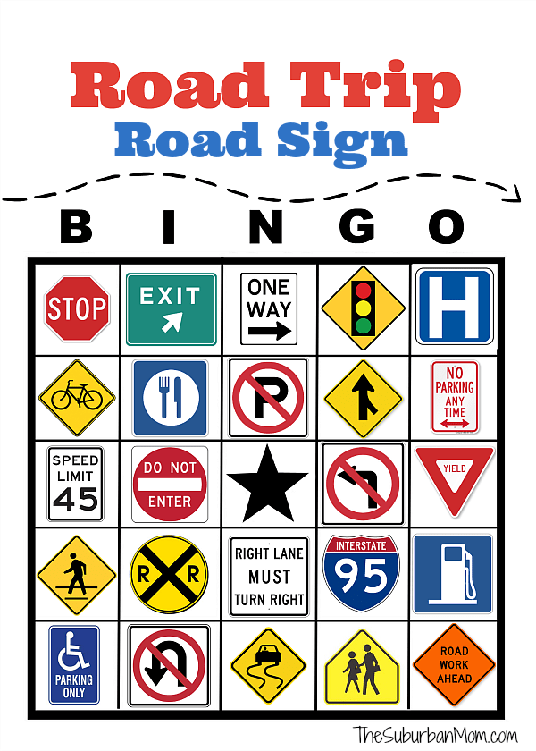 photograph regarding Free Printable Road Signs titled Highway Vacation Cafe Bingo Free of charge Printable - The Suburban Mother