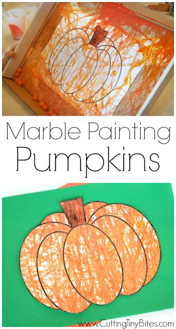 Marble Painting Pumpkins