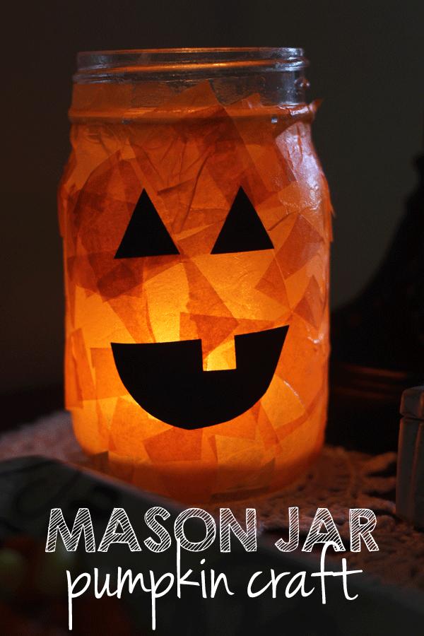 Mason Jar Pumpkin Luminary