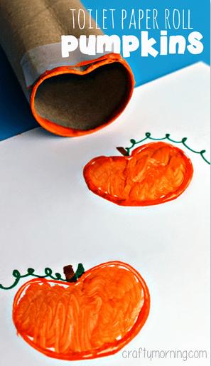 Toilet Paper Roll Pumpkin Stamp Halloween Craft