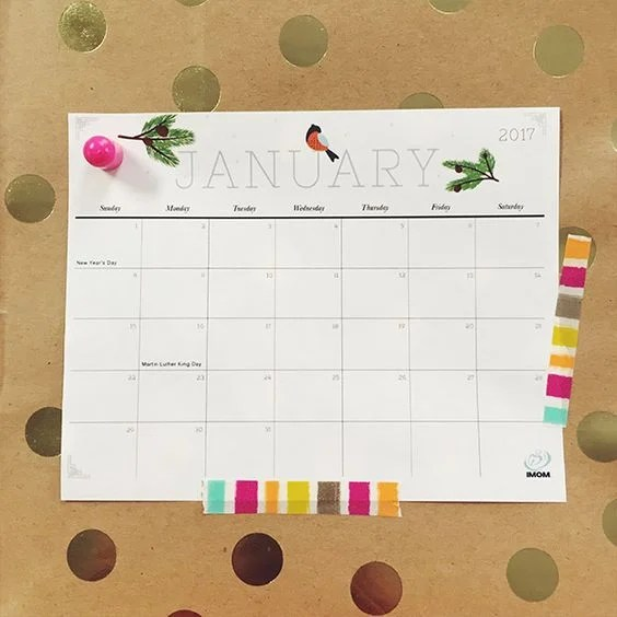 Free 2017 Monthly Calendar
