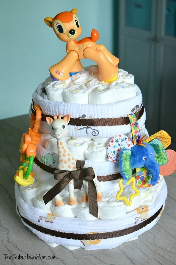 Easy Jungle Diaper Cake Tutorial The Suburban Mom