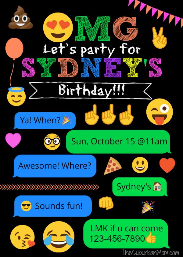image relating to Free Printable Emoji B Day Invites identify Emoji Birthday Celebration Options - No cost Printables Decorations