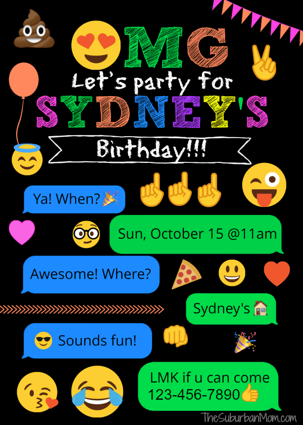Emoji Birthday Party Invitation
