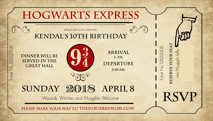 Harry Potter Birthday Party Invitation