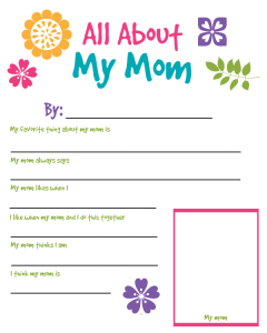 All About My Mom Printable Worksheet
