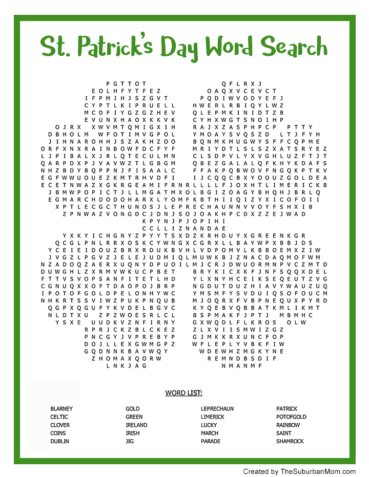 photograph relating to St Patrick Day Puzzles Printable Free identified as St. Patricks Working day Phrase Glimpse Printable - The Suburban Mother