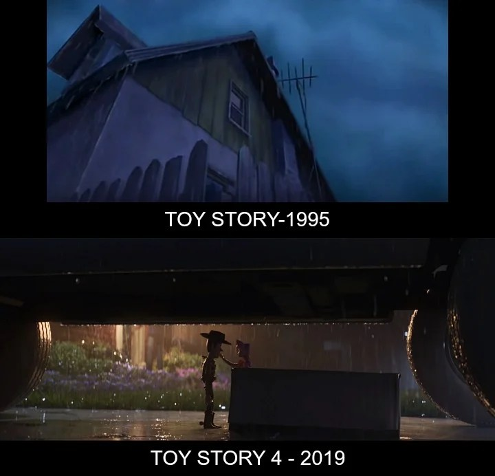 Toy Story v Toy Story 4 Rain Comparison