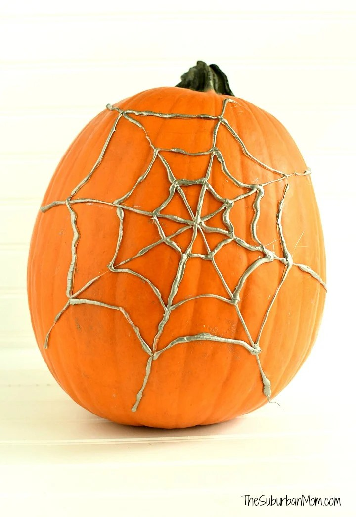 No Carve Spider Web Pumpkin