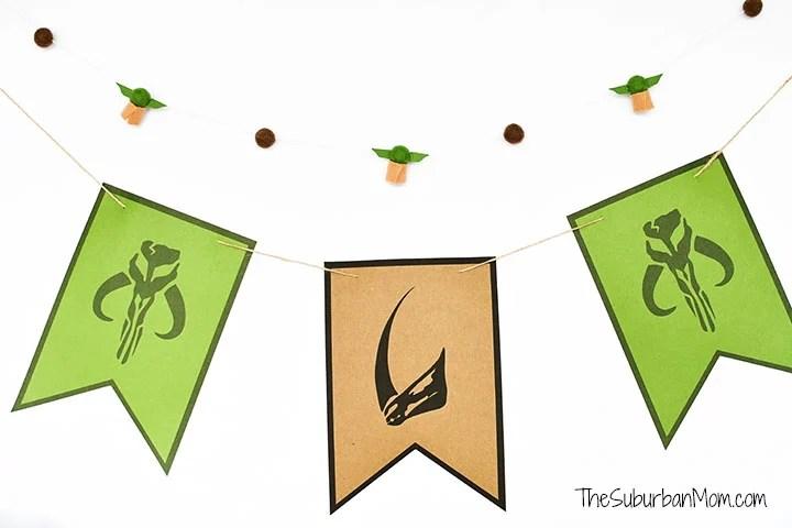 Madalorian Baby Yoda Birthday Banner