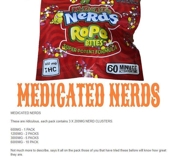 Die 'Medicated Nerds Rope Bites' scheinen für Kinder verpackt zu sein, enthalten aber tatsächlich gefährliche Mengen an psychoaktivem chemischem THC.
