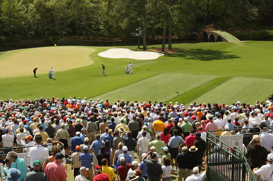 Golf fans gather at holes 11 and 12 in Amen Corner