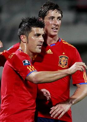 Torres named David Villa as his partner in attack of his best XI
