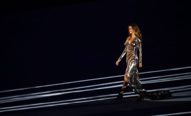 Brazilian model Gisele Bundchen featured during the artistic section of the opening ceremony