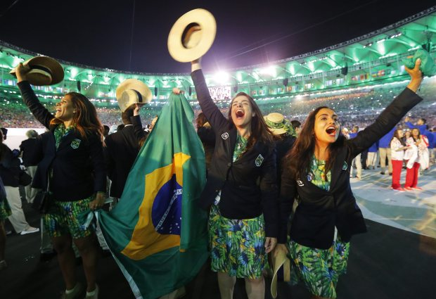 Hosts Brazil were the last country to enter the Maracana and did so to huge cheers