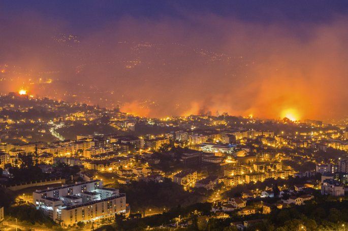 Swathes pf countryside have been destroyed and the city of Funchal is in flames