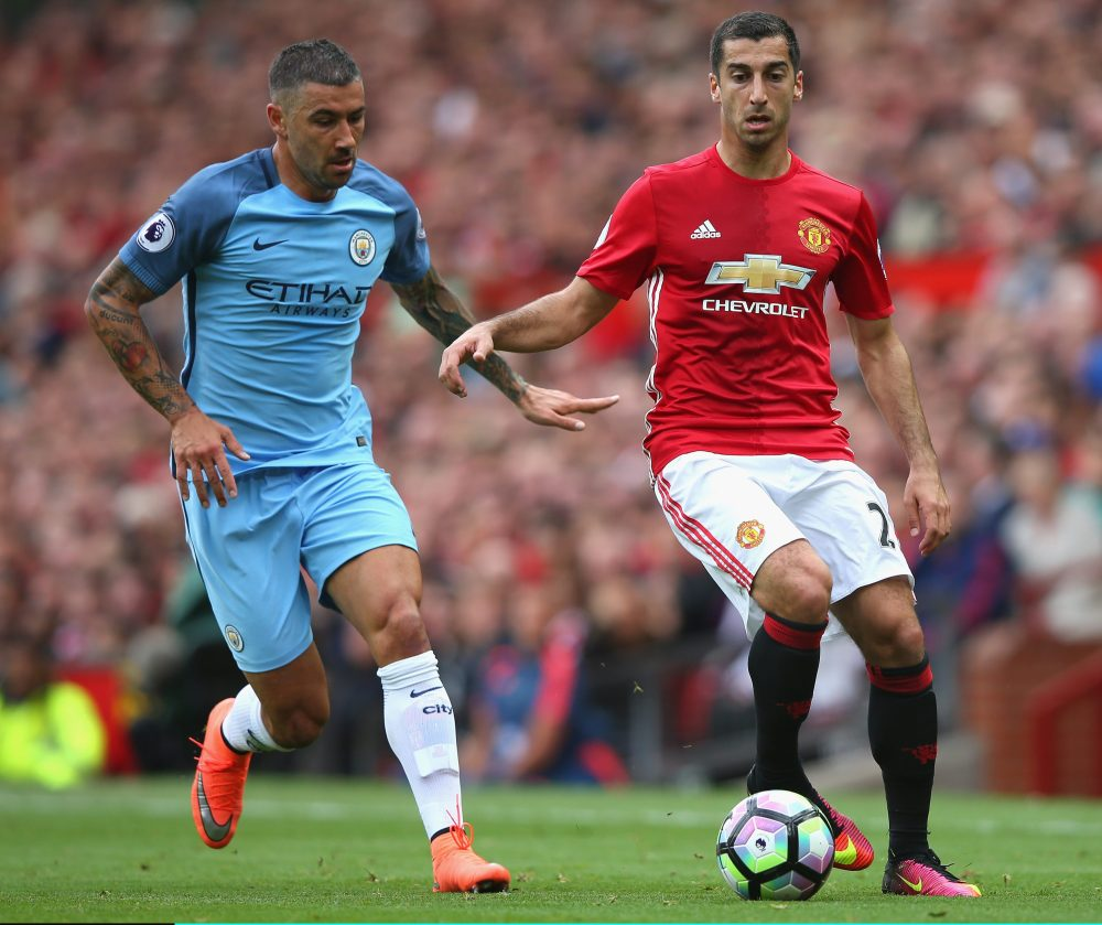 Henrikh Mkhitaryan takes on City star Aleksander Kolorov but is unlikely to have impressed Mourinho