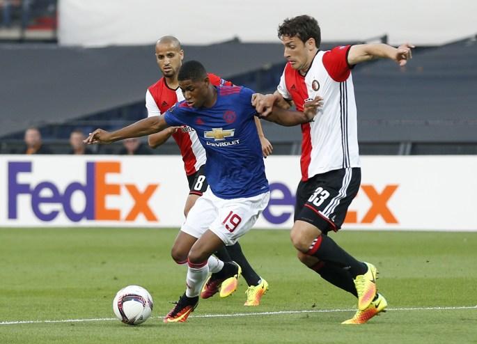 Marcus Rashford struggled to make an impact against Feyenoord last night