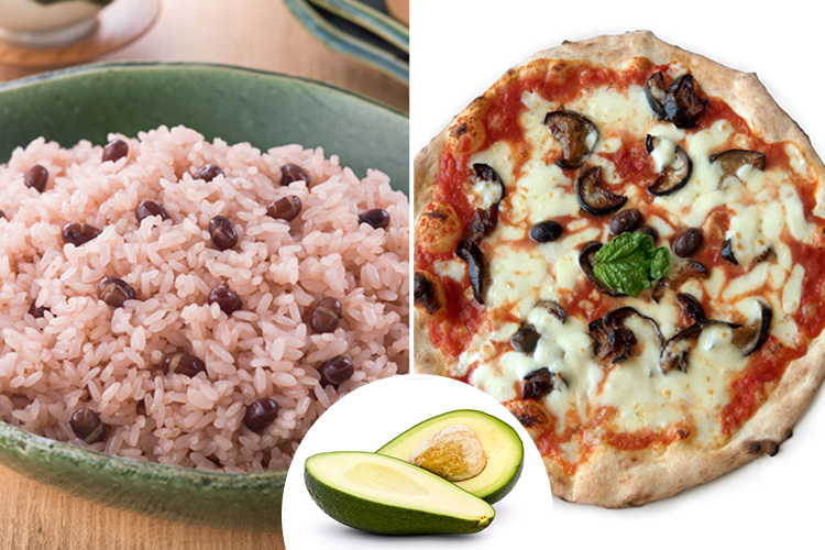 Rice, avocado and vegan cheese are all on the vegan menu